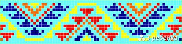 Схема фенечки прямым плетением 34097