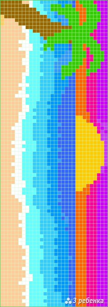 Схема фенечки прямым плетением 34056