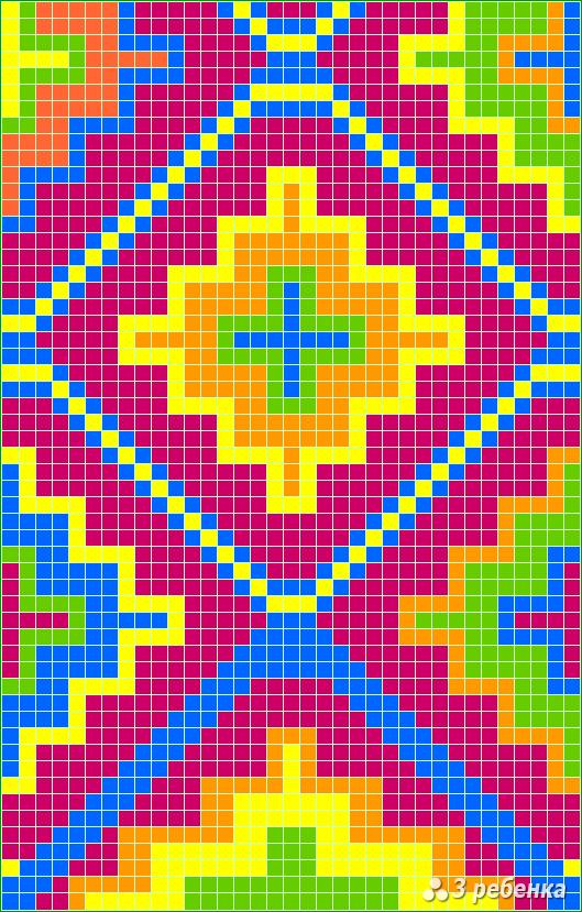 Схема фенечки прямым плетением 34015
