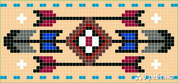 Схема фенечки прямым плетением 34155